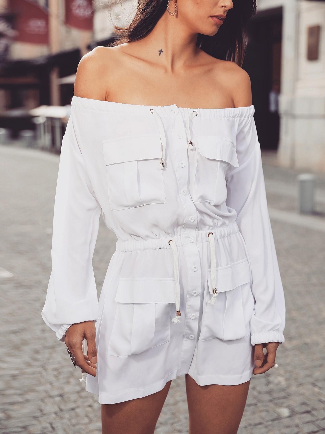 boutiquefeel / Off Shoulder Drawstring Pocket Design Casual Dress