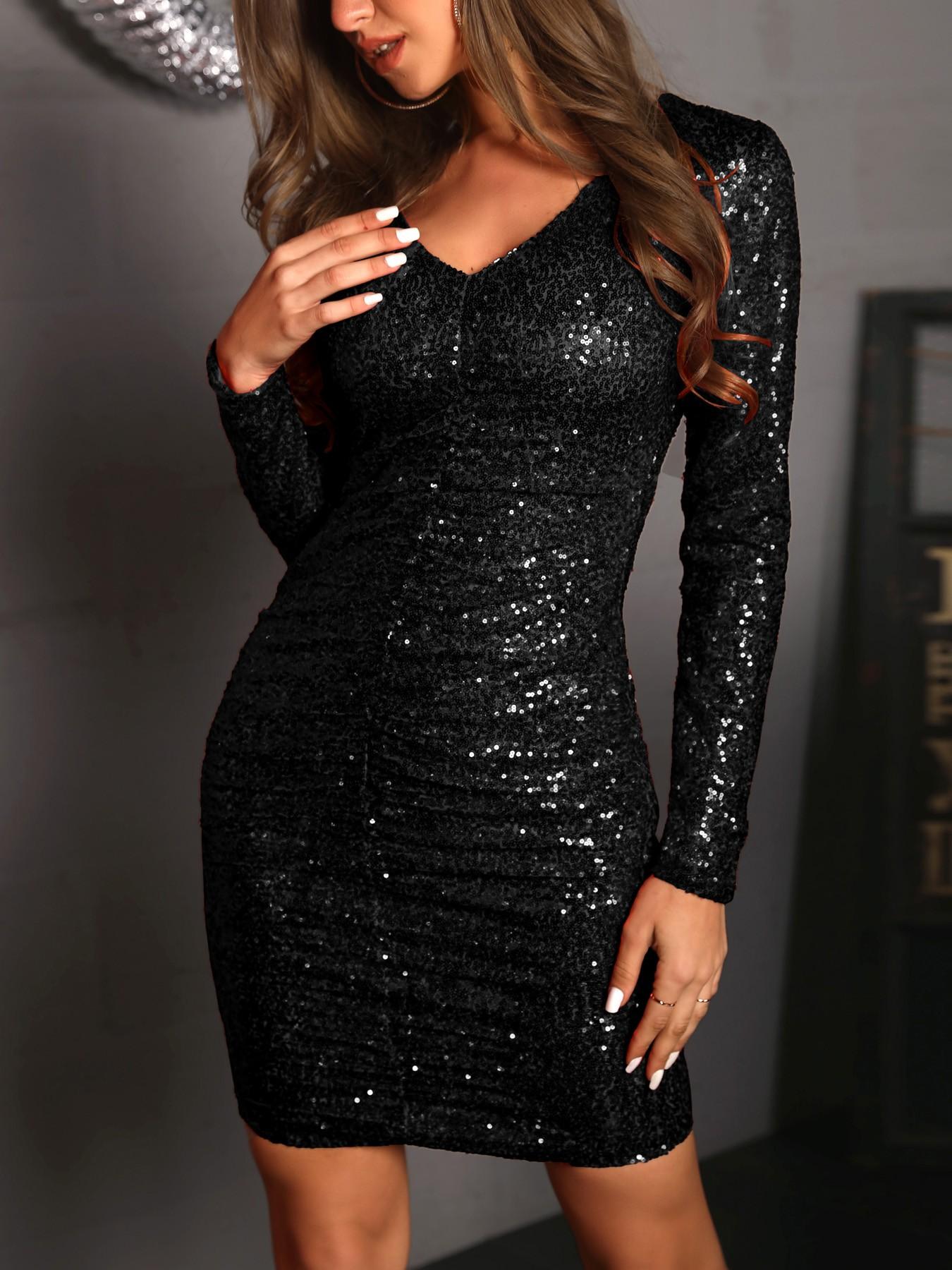 Ruched Design Sequin Dress