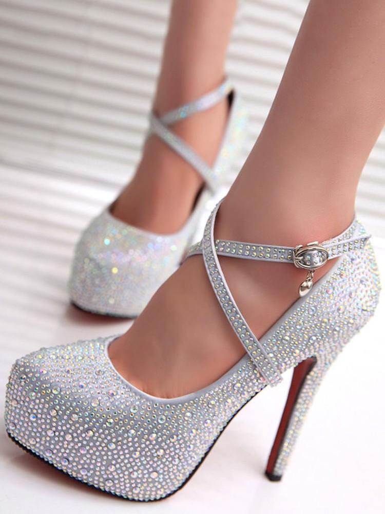 Strappy Glitter Heels
