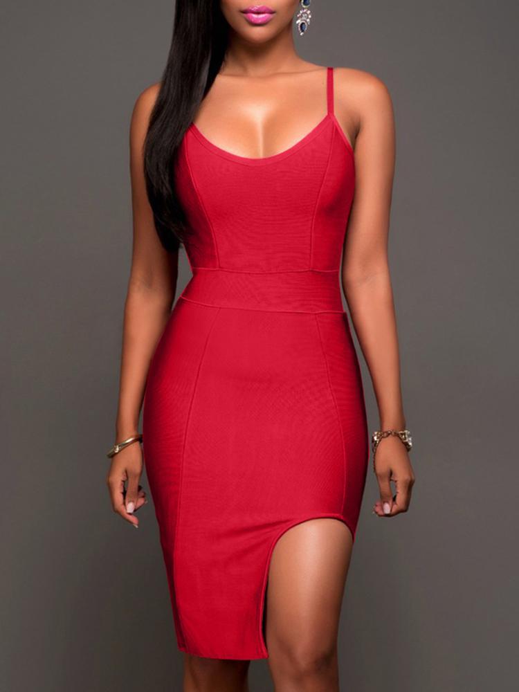 Ivrose coupon: Women's Fashion Plus Size Bodycon Dress Irregular Split Sling  Spaghetti Strap Party Dress Casual Dresses Hip Package Dress