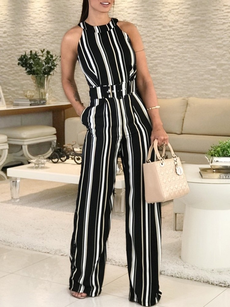 boutiquefeel / Halter Striped Sleeveless Belted Jumpsuits
