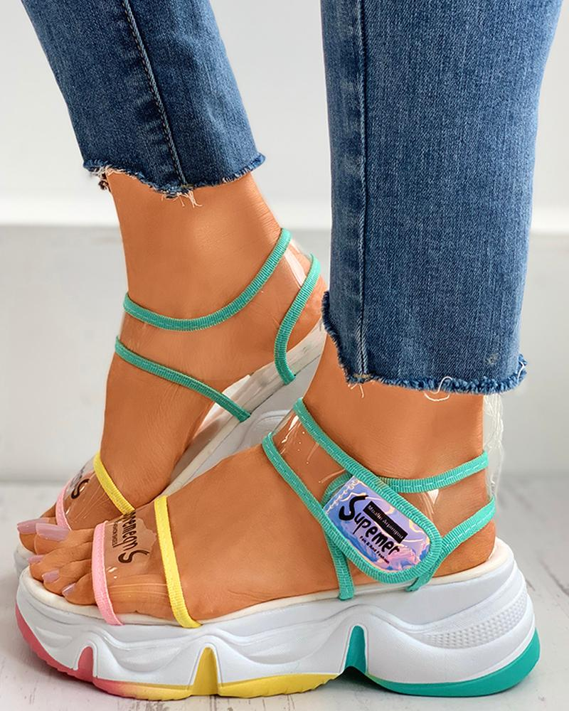 Clear Perspex Letter Print Colorblock Muffin Sandals thumbnail