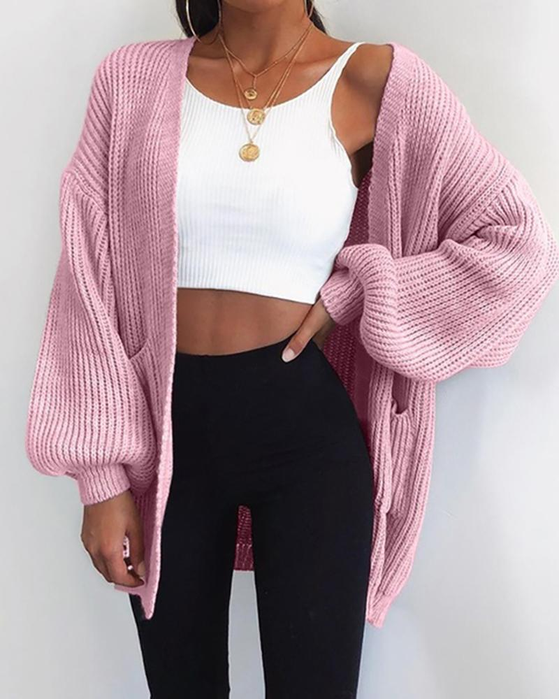 Knit Lantern Sleeve Casual Cardigan thumbnail