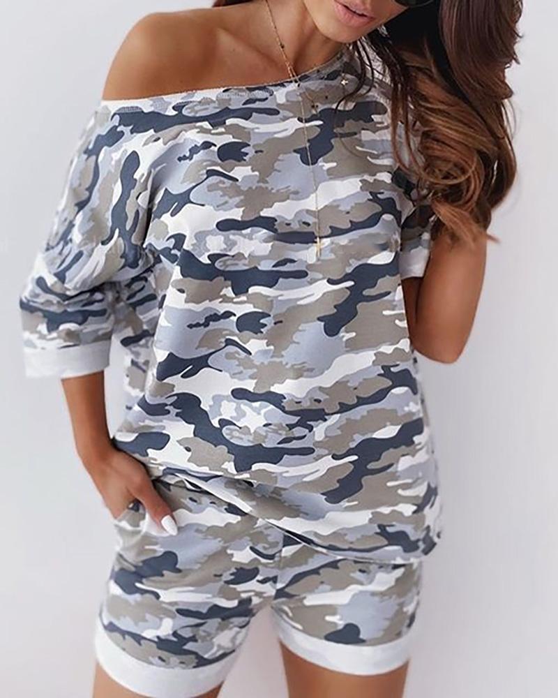 Camouflage One Shoulder Top & Pocket Design Short Set thumbnail