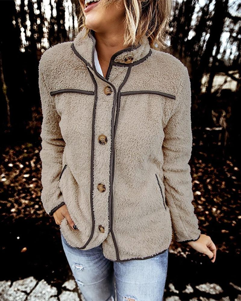 Fluffy Contrast Piping Button Design Coat thumbnail