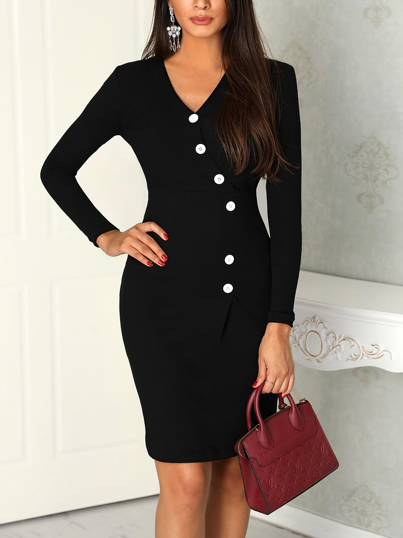 boutiquefeel / V-Neck Button Design Long Sleeve Dress