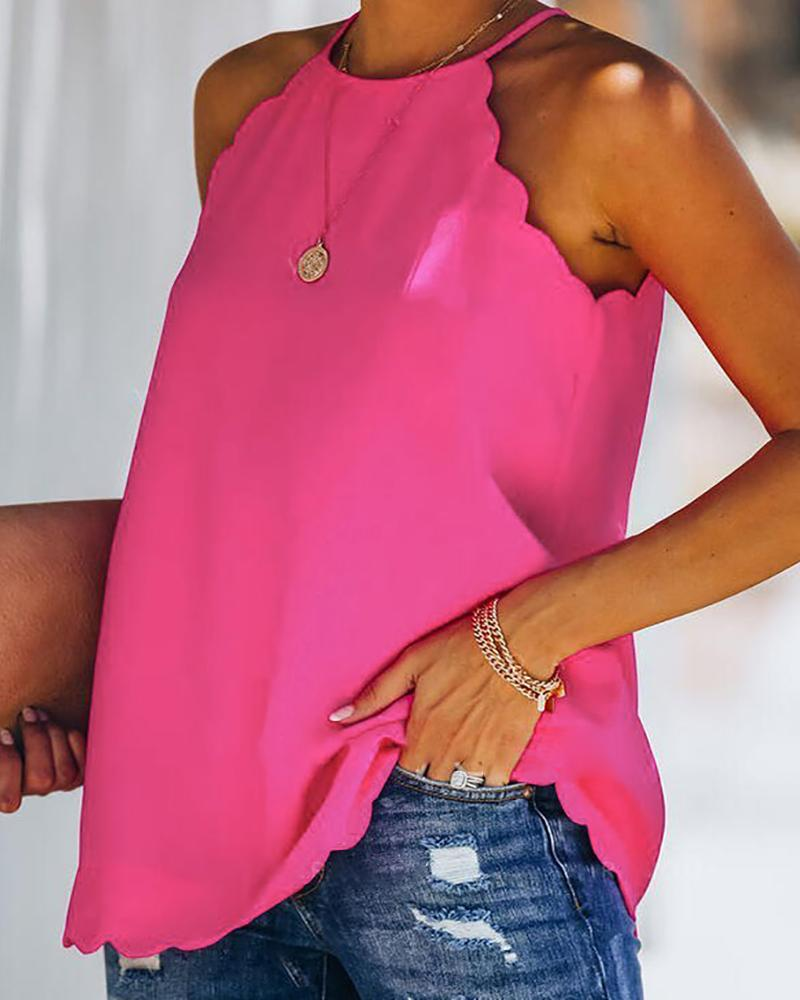 Scallop Trim Sleeveless Basic Top, boutiquefeel, hot pink  - buy with discount