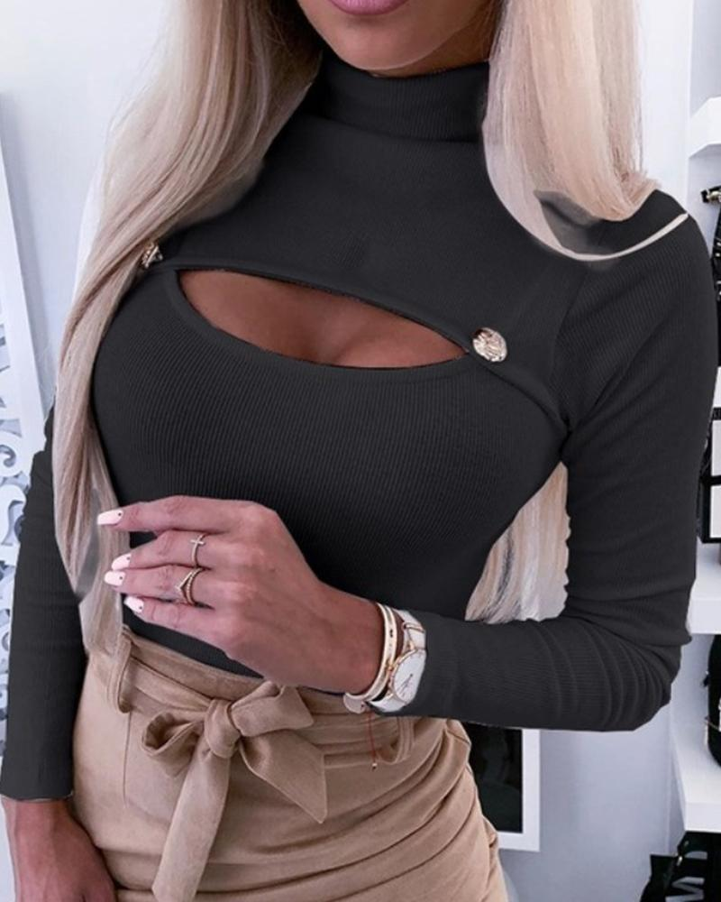 High Neck Open Chest Rib Top