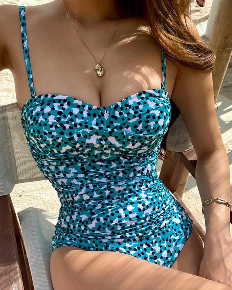 Spaghetti Strap Tropical / Cheetah Print Ruched One Piece Swimsuit thumbnail