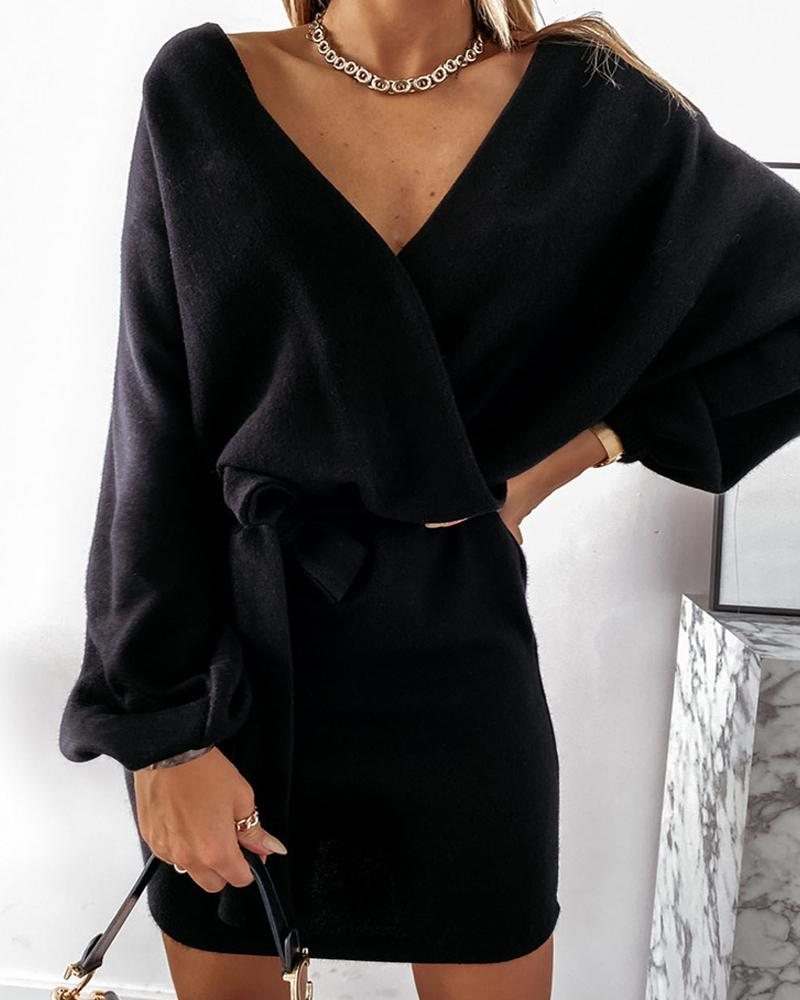 Plain Wrap Long Sleeve Casual Dress