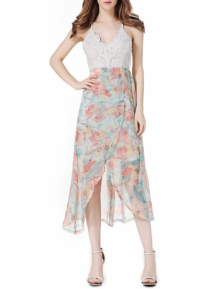 boho floral scalloped lace chiffon slip dress online