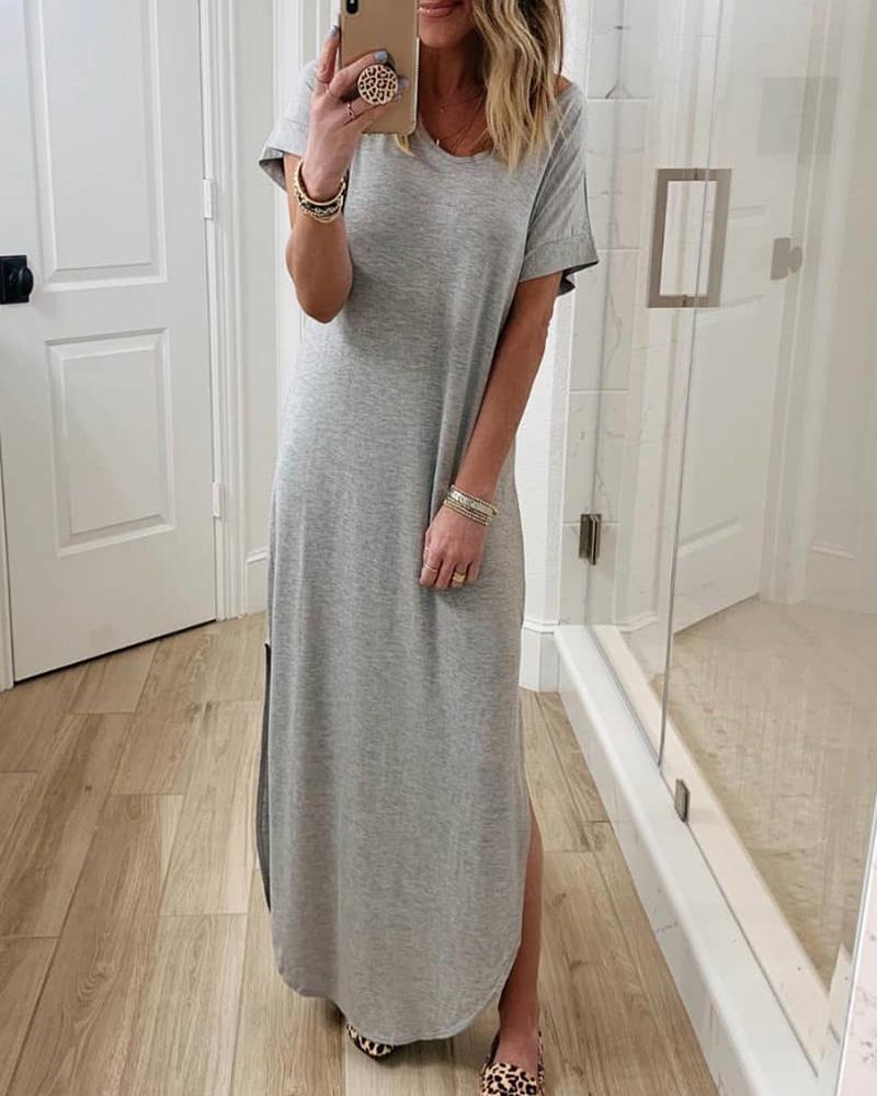 Short Sleeve Side Slit Casual Maxi Dress thumbnail