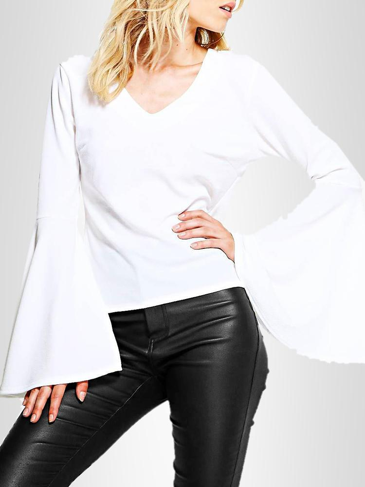 Fashion Flare Sleeve V Neck Blouse