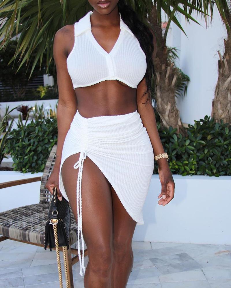 Ribbed Plain V Neck Crop Top & Drawstring Skirt Set, White