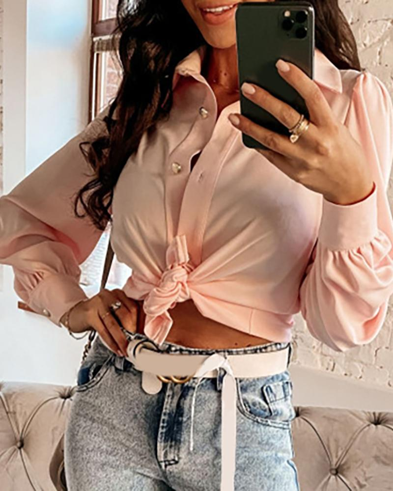 Knotted Puffed Lantern Sleeve Crop Top thumbnail