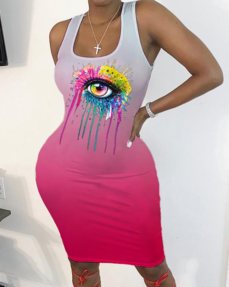 Eyes Print Thick Strap Bodycon Dress thumbnail