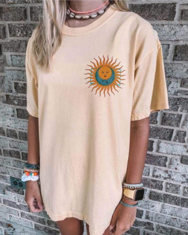 Comfy Print Loose Round Neck T-shirt thumbnail