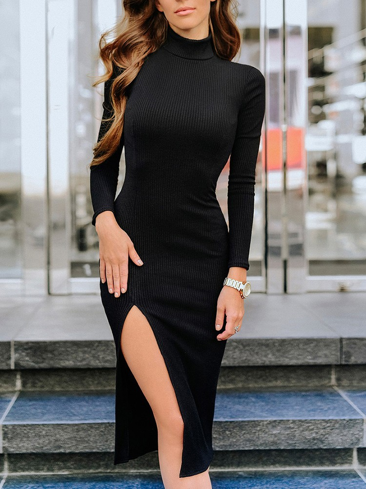 boutiquefeel / Solid Long Sleeve Slit Side Bodycon Dress