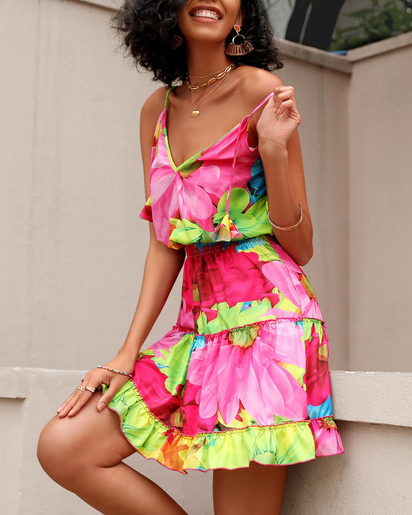 Multicolor Floral Print Skinny Waist Sling Mini Dress