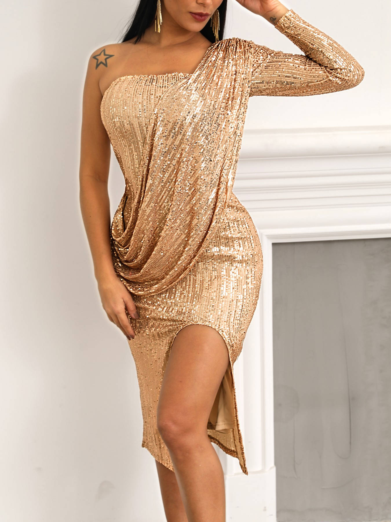 boutiquefeel / Sequin One Shoulder Drape Design Slit Party Dress