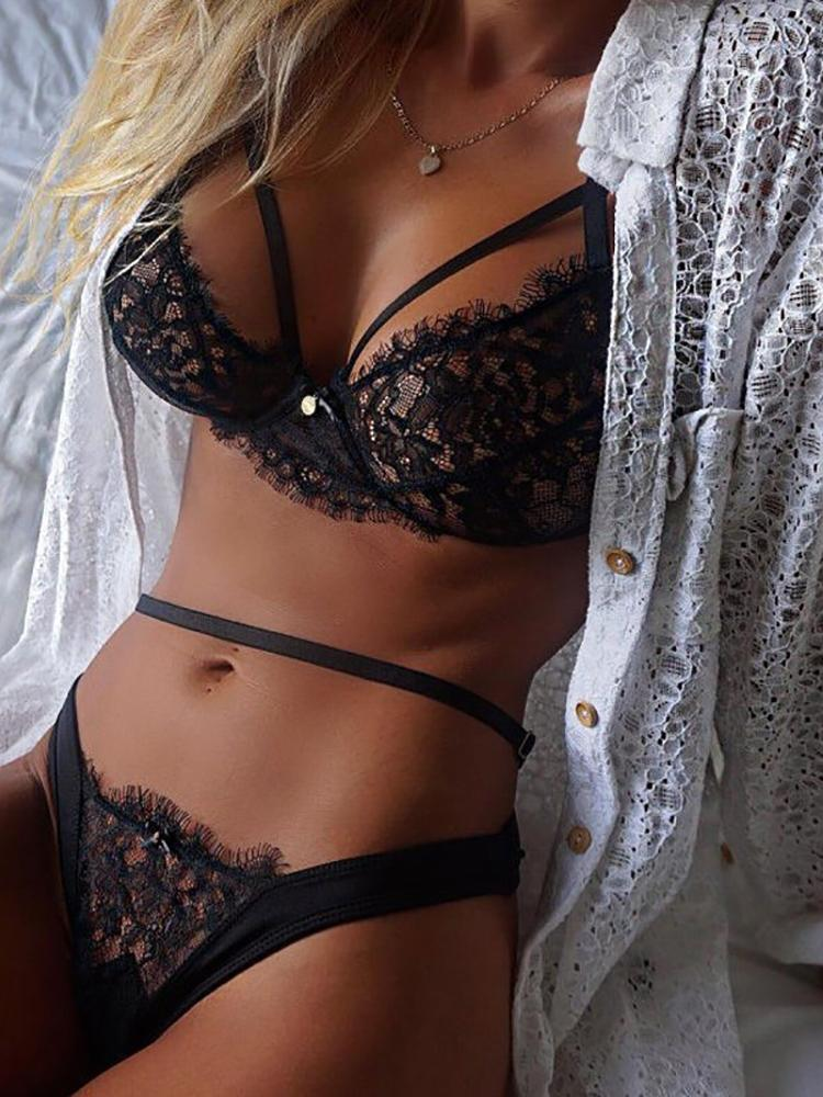 381ebfa7fe Sexy Lace Black Strappy Lingerie Set Online. Discover hottest trend fashion  at chicme.com