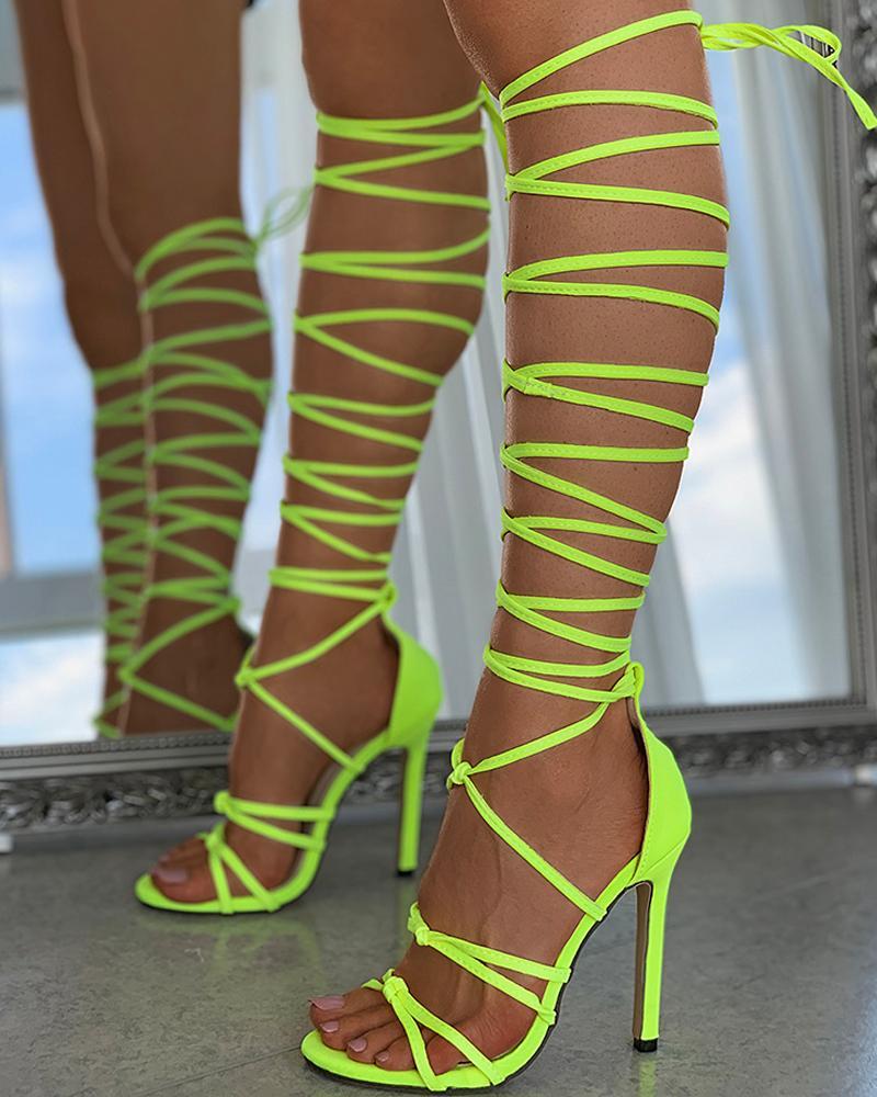 Lace-up Plain Strappy Stiletto Heel