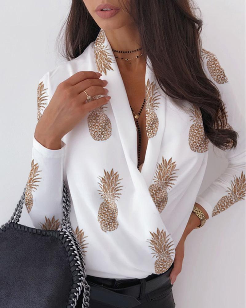 V Neck Surplice Wrap Pineapple Print Long Sleeve Blouse