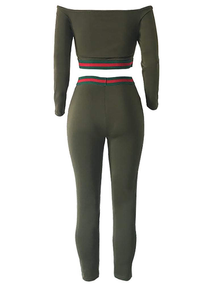 boutiquefeel / Off Shoulder Striped Tape Crop Top & Pant Sets