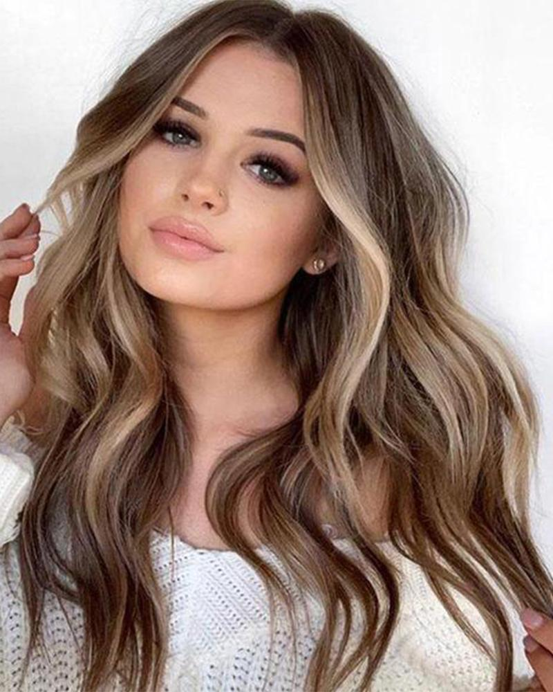 Synthetic Wig Wavy Middle Part Wig Long Blonde Ombre Brown Synthetic Hair 22 inch