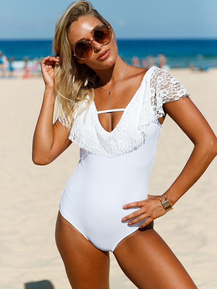 36af9ebb2aded4 Sexy Crochet Lace Patchwork Open Back One-piece Swimwear Online ...