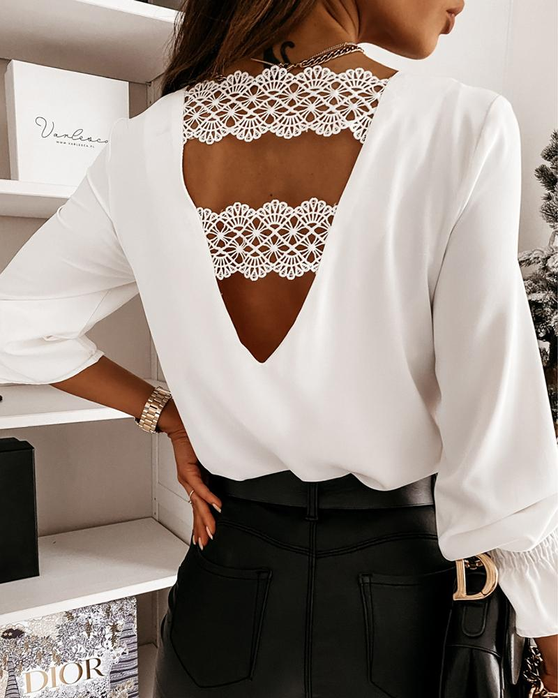 Guipure Lace Backless Top