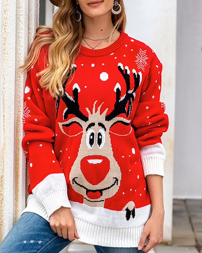 Christmas Moose Print Long Sleeve Sweater