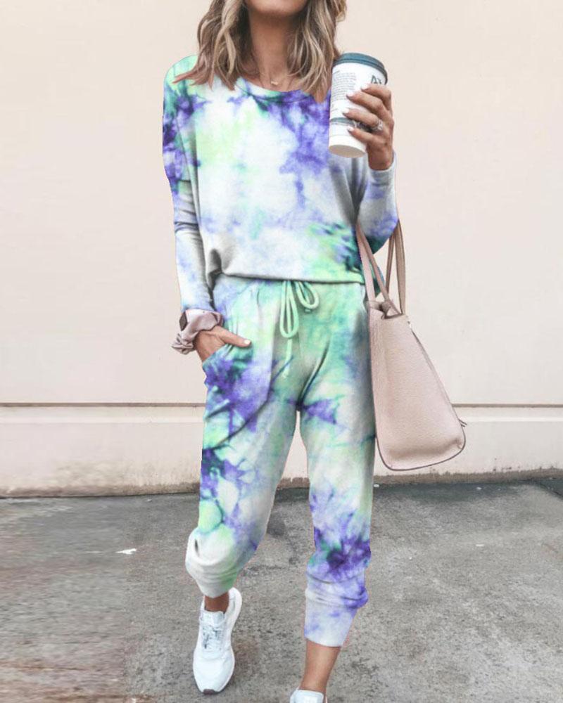 Tie Dye Print Top & Drawstring Pants Set thumbnail