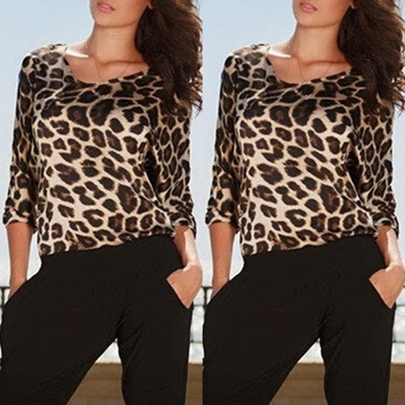 Women's Sexy Backless Leopard Printing Clubwear Jumpsuit Long Sleeve Playsuit Full Pants