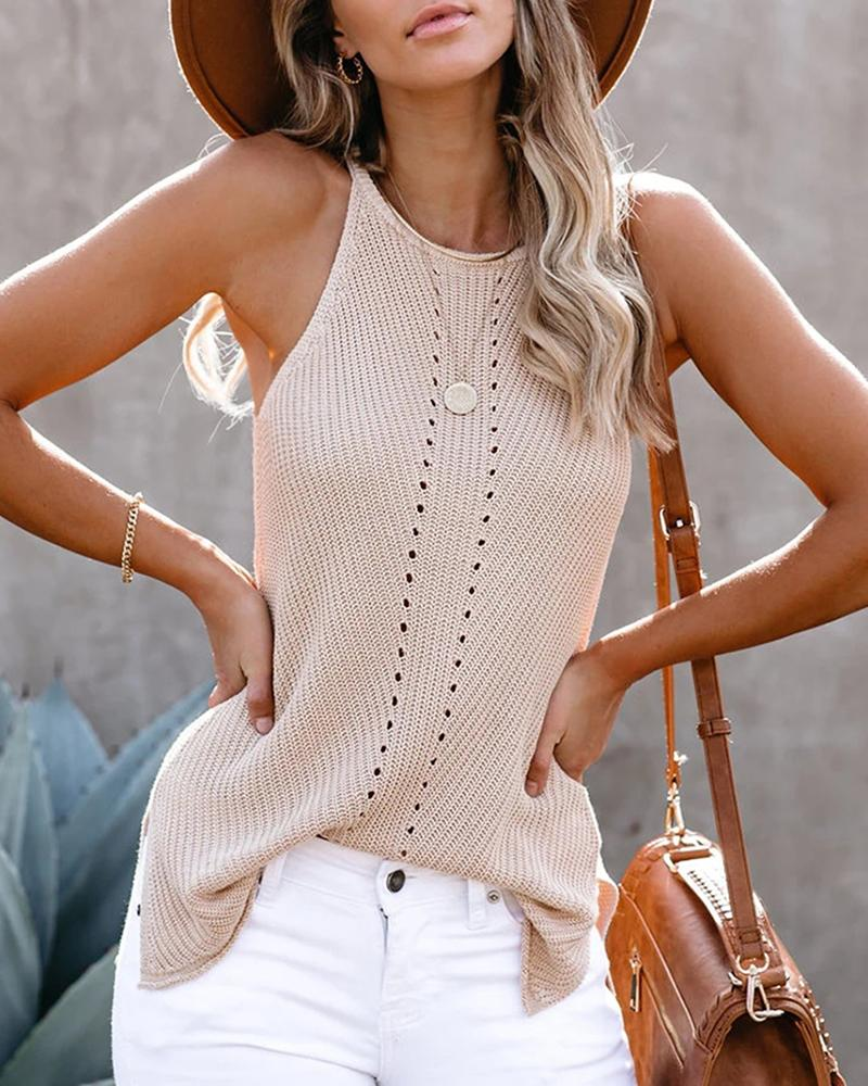 Sleeveless Hollow Out Solid Blouse thumbnail