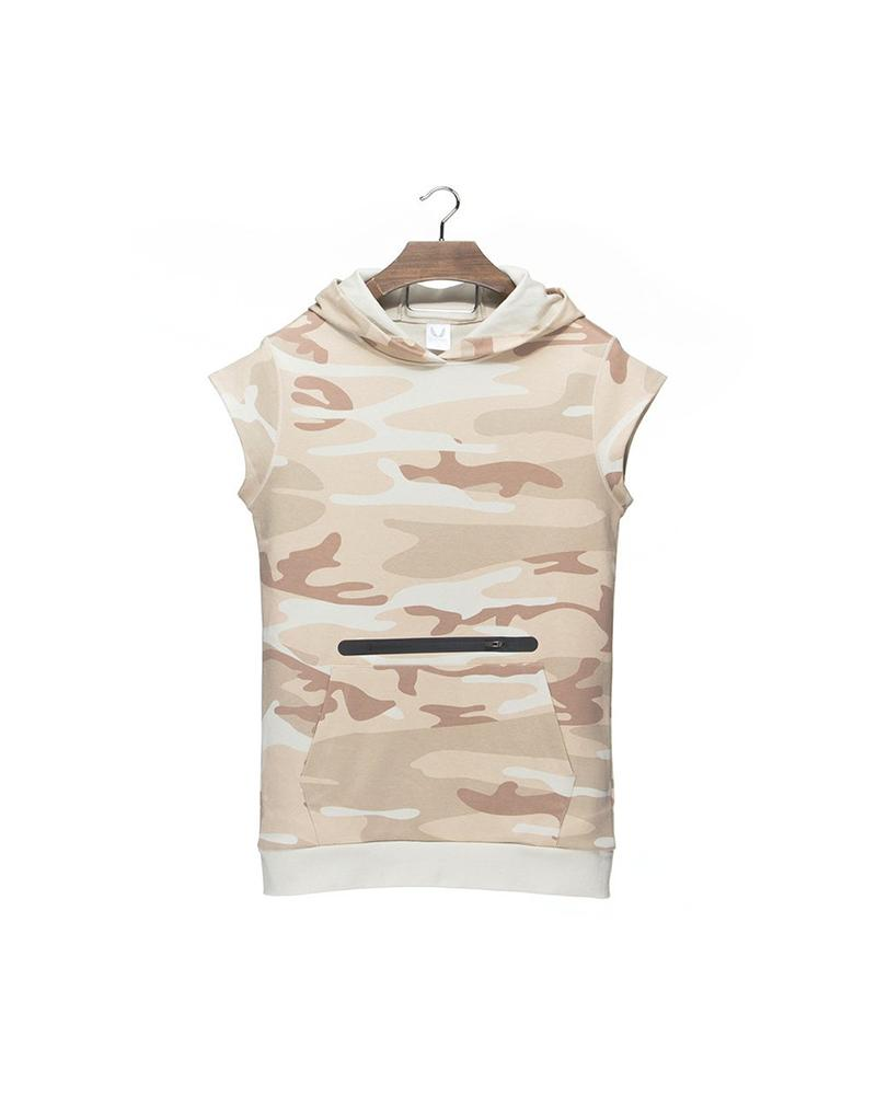Camouflage Print Sleeveless Loose Hooded Sweatshirts T-shirts Tanks