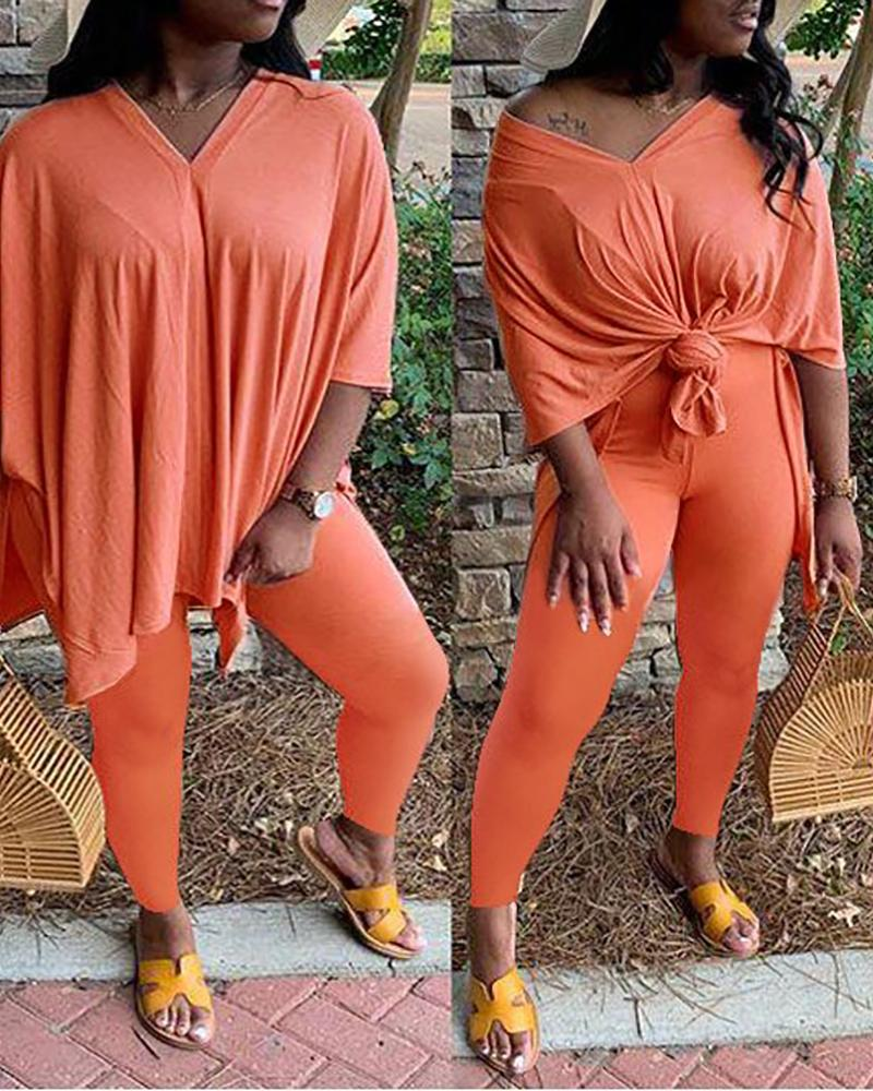 Solid Casual Crop Top & Pants Set