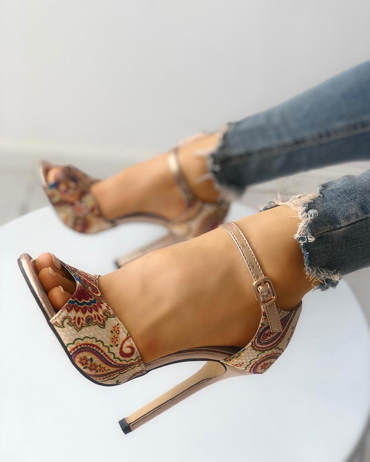 Tribal Print Peep Toe Thin Heeled Sandals