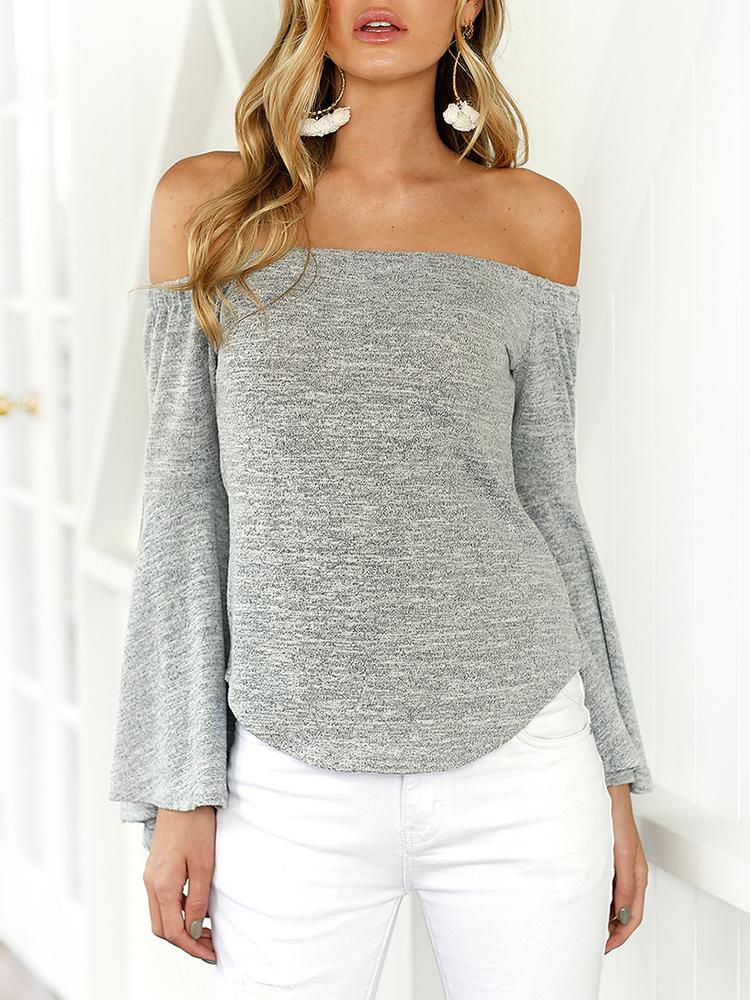Joyshoetique coupon: Trendy Off Shoulder Flare Sleeve Casual Blouse