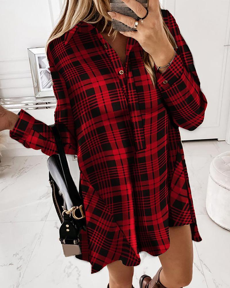 Plaid Button Design Long Sleeve Shirt Dress