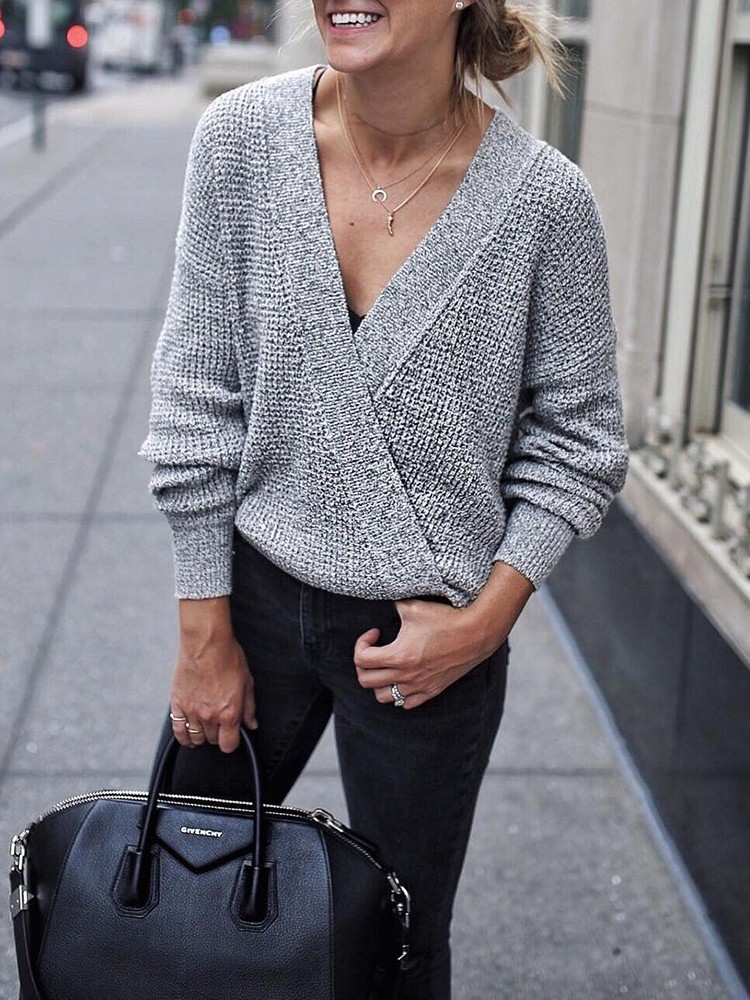 Stylish Deep V Wrapped Loose Sweater