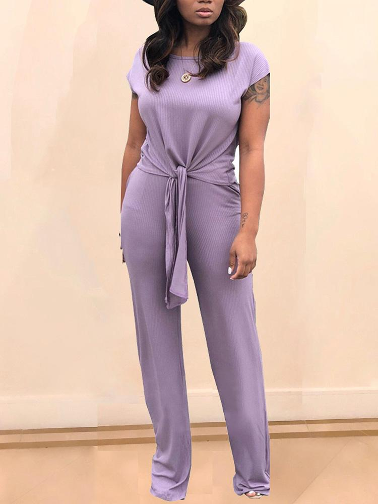 Round Neck Knotted Front Top & Pant Sets