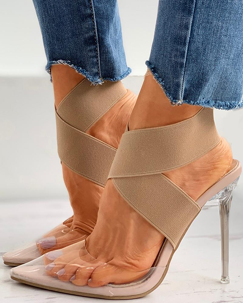 Pointed Toe Transparent Strap Stiletto Heel