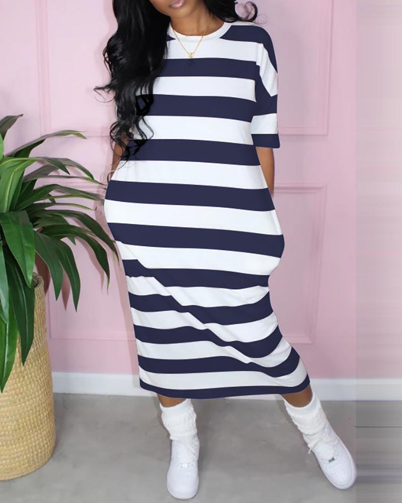 Side Pocket Striped Maxi Dress thumbnail