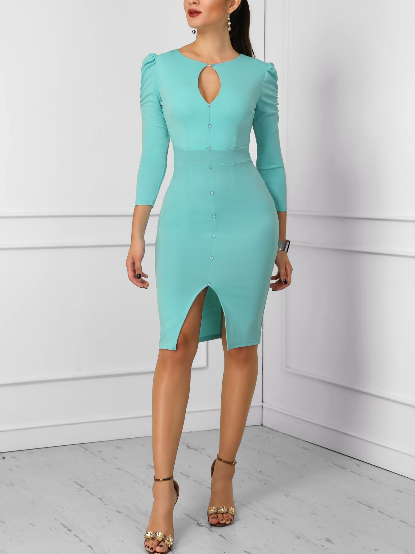 boutiquefeel / Solid Keyhole Button Design Slit Dress