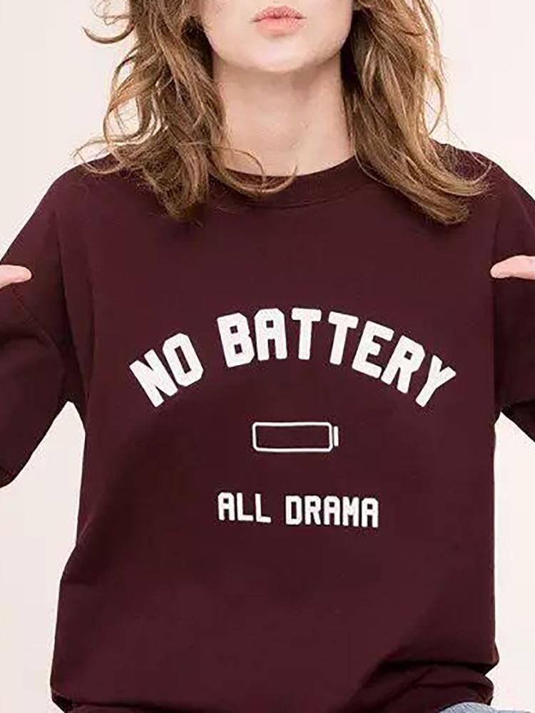Women Fashion Letter Printed Casual Sweatshirt