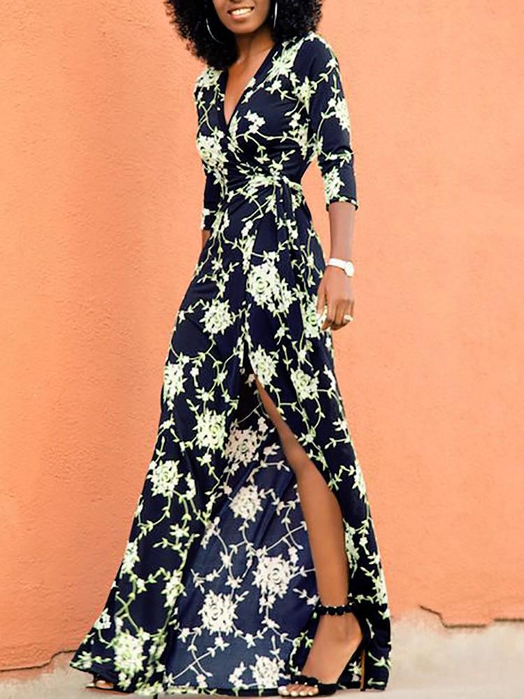0d20b3c7305 Vintage Floral Print Tied Waist Maxi Wrap Dress Online. Discover ...