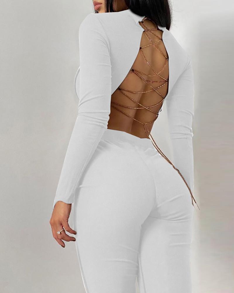 Chain Strap Lace-up Backless Crop Top & Pants Set thumbnail
