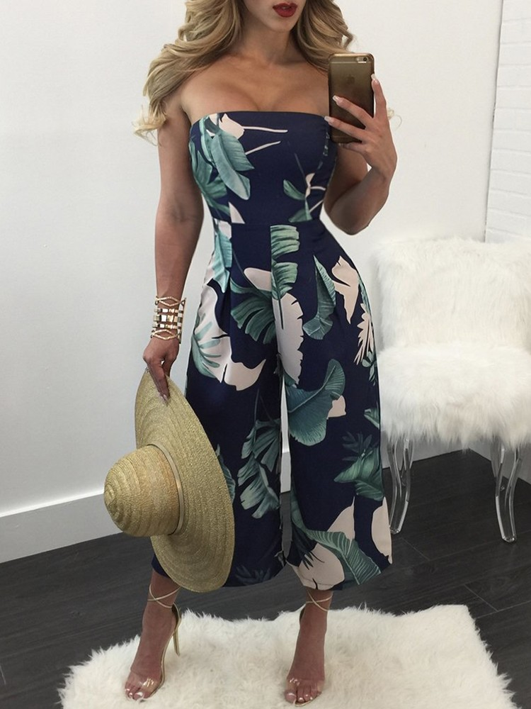 Trendy Print Strapless Flared Jumpsuit