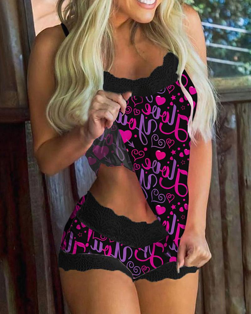 Letter And Heart Print Splicing Lace Sling Pajamas Sets